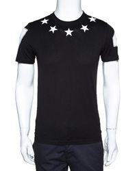 Givenchy Black Cotton Star Applique T Shirt Xs