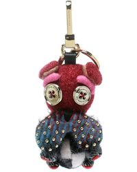 Burberry Seymour The Bulldog Multicolour Cashmere Embellished Key Ring / Bag Charm - Red
