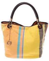 Lancel Multicolor Stripe Canvas French Flair Tote - Yellow