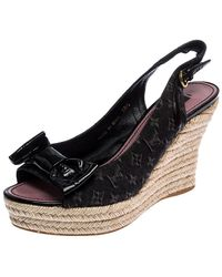 Louis Vuitton Black Monogram Denim Bow Espadrille Wedge Sandals Size 38.5