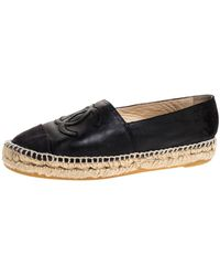 Chanel Black Leather And Canvas Cc Espadrilles