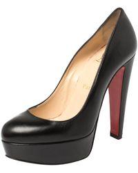 Christian Louboutin Black Leather Platform Court Shoes