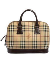 Burberry Beige/brown Haymarket Check Coated Canvas And Leather Dome Satchel - Natural