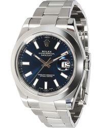 Rolex Blue Stainless Steel Datejust Ii 116300 Wristwatch 41 Mm