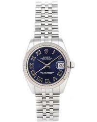 Rolex Blue Stainless Steel Datejust 178274 Wristwatch 31 Mm