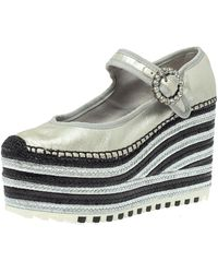 Marc Jacobs Metallic Silver Leather Crystal Embellished Suzi Mary Jane Platforms Espadrilles