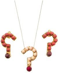 Stella McCartney Resin Question Mark Gold Tone Pendant Necklace And Earrings Set - Metallic