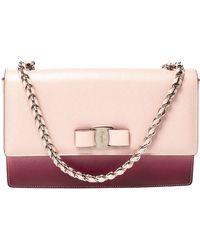 Ferragamo Pink/burgundy Ombre Leather Ginny Shoulder Bag