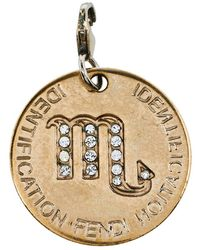 Fendi Gold Tone Crystal Zodiac Charm Pendant - Metallic