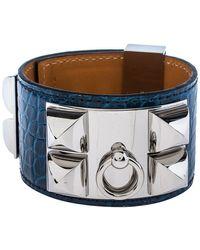Hermès Hermès Blue Alligator Leather Collier De Chien Cuff Bracelet