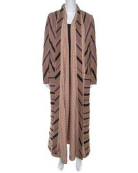 Missoni Beige Striped Alpaca Blend Crocket Trimmed Coat S - Natural