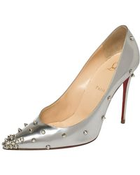 Christian Louboutin Metallic Silver Leather Degraspike Pointed Toe Pumps