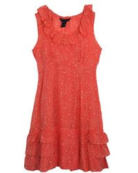 Marc By Marc Jacobs - Brightest Coral Cosmo Print Cotton-silk Ruffle Dress M - Lyst