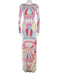 Emilio Pucci Multicolour Signature Print Silk Lace-up Back Maxi Dress M