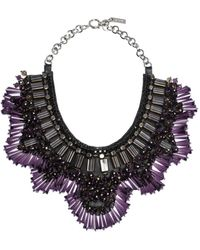 Etro Multicolour Crystal Studded Two Tone Statement Collar Necklace