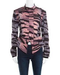 McQ Multicolor Houndstooth And Animal Printed Angular Peplum Jacket