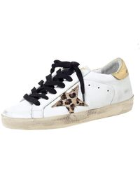 Golden Goose Deluxe Brand Deluxe Brand White Leather Gold Metallic Tab Leopard Star Superstar Size 35