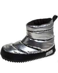 Marc By Marc Jacobs Silver Fabric Quilted Howard Snow Boots Size 36 - Metallic