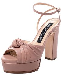 Sergio Rossi Beige Leather Kaia Knot Detail Platform Sandals Size 38 - Natural