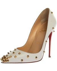 Christian Louboutin White Leather Degraspike Pumps