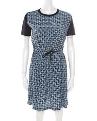 0d0cfcea6422 Louis Vuitton - Monogram Printed Cotton And Silk Waist Tie Detail Dress Xs  - Lyst