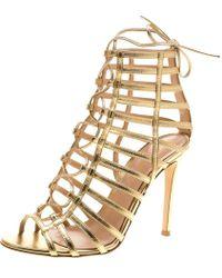 353376fc8e0e9 Gianvito Rossi - Metallic Leather Roxy Lace Up Caged Sandals - Lyst
