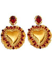Dolce & Gabbana Red Crystal Sacred Heart Drop Clip On Earrings - Metallic
