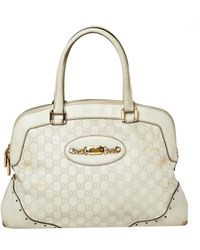 Gucci Off White Ssima Leather Large Punch Satchel