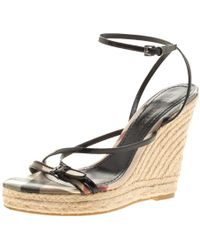 Burberry - Leather Cross Strap Espadrille Wedge Sandals - Lyst