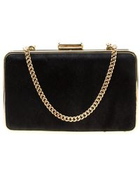 Michael Kors Black Calfhair And Croc Embossed Leather Elsie Box Chain Clutch