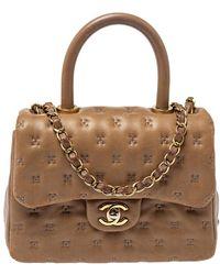 Chanel Beige Leather Paris-rome Coco Top Handle Bag - Natural