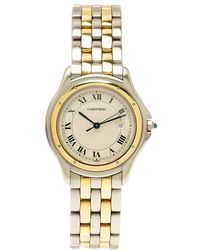 Cartier Ivory 18k Yellow Gold And Stainless Steel Panthere Women's Wristwatch 33mm - Metallic