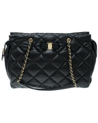 18454b44214 Ferragamo - Quilted Leather Ginette Chain Shoulder Bag - Lyst