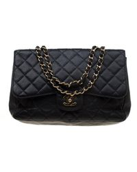 d32d8f3a0453 Chanel - Black Quilted Caviar Leather Jumbo Classic Single Flap Bag - Lyst