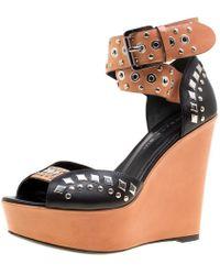 Barbara Bui - Black/brown Stud Eyelet Embellished Ankle Wrap Wedge Sandals Size 37 - Lyst
