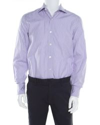 Tom Ford Purple And White Striped Cotton Long Sleeve Button Front Shirt