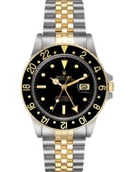 Rolex Black 18k Yellow Gold And Stainless Steel Gmt Master 16753 Wristwatch 40 Mm