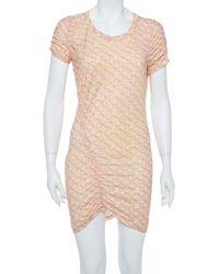 Louis Vuitton Pink Logo Monogram Cotton Ruched Tunic