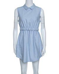Carven Blue Chambray Gathered Waist Sleeveless Dress