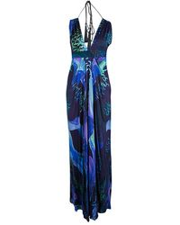 Matthew Williamson Escape Multicolor Bird Print Tassel Detail Maxi Dress - Blue
