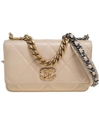 Chanel Beige Quilted Leather 19 Wallet On Chain - Natural