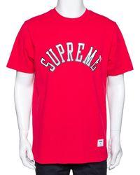 Supreme Red Cotton Arc Logo Print Crew Neck T Shirt