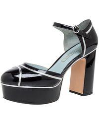 Marc Jacobs Black Patent Leather Edie Mary Jane Platform Pumps