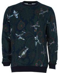 Givenchy Men's Paisley Aeroplane Print Knit Sweater L - Green