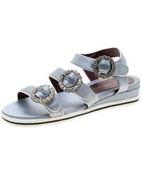 Marc By Marc Jacobs Gray Satin Crystal Embellished Buckle Flat Strappy Sandals Size 36