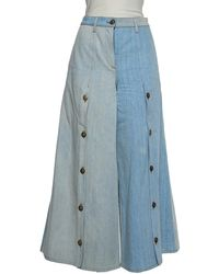 Chanel Two-tone Denim Cropped Wide Leg Jeans - Blue