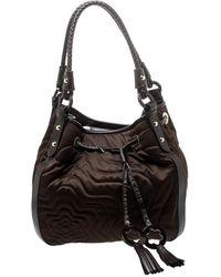 Montblanc Brown Nylon And Leather Starisma Dalila Drawstring Hobo