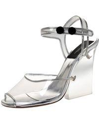 Marc Jacobs Silver Pvc And Leather Plexiglass Heel Sandals - Metallic