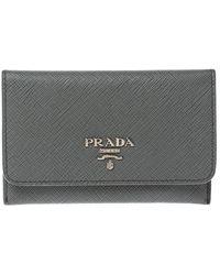 Prada Grey Saffiano Leather Flap Card Holder