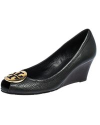 Tory Burch Black Leather Wedge Peep Toe Court Shoes Size 38